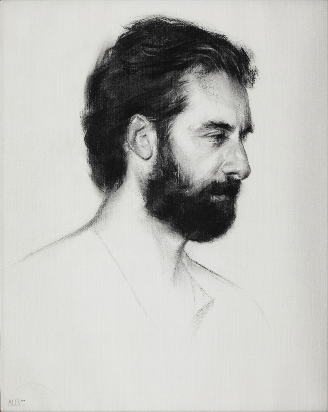charcoal portrait of a man sight-size charles cecil