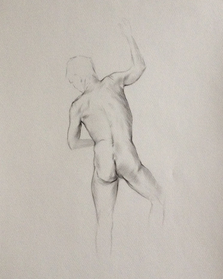 charcoal nude study sight size
